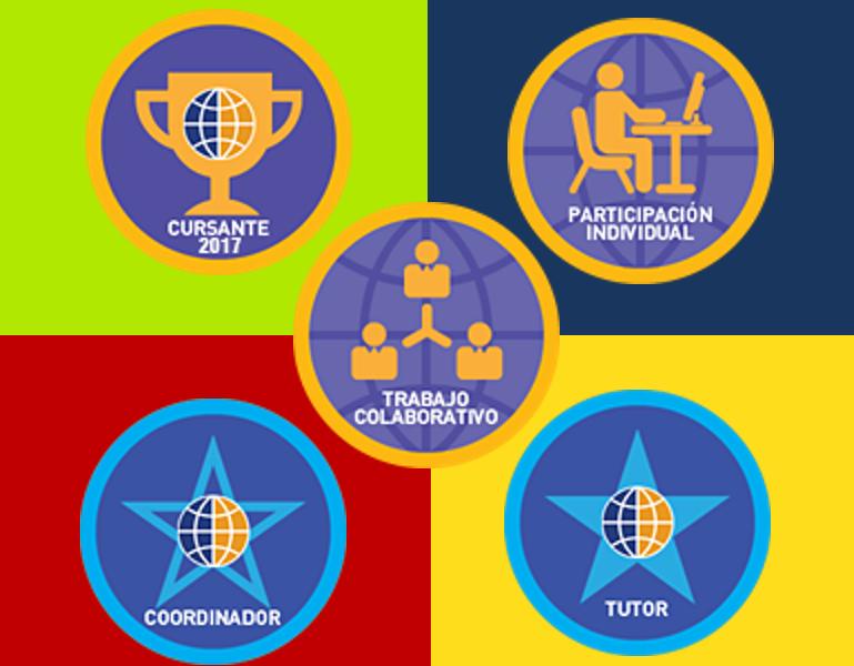 Cuadro con insignias digitales utilizadas en e-learning