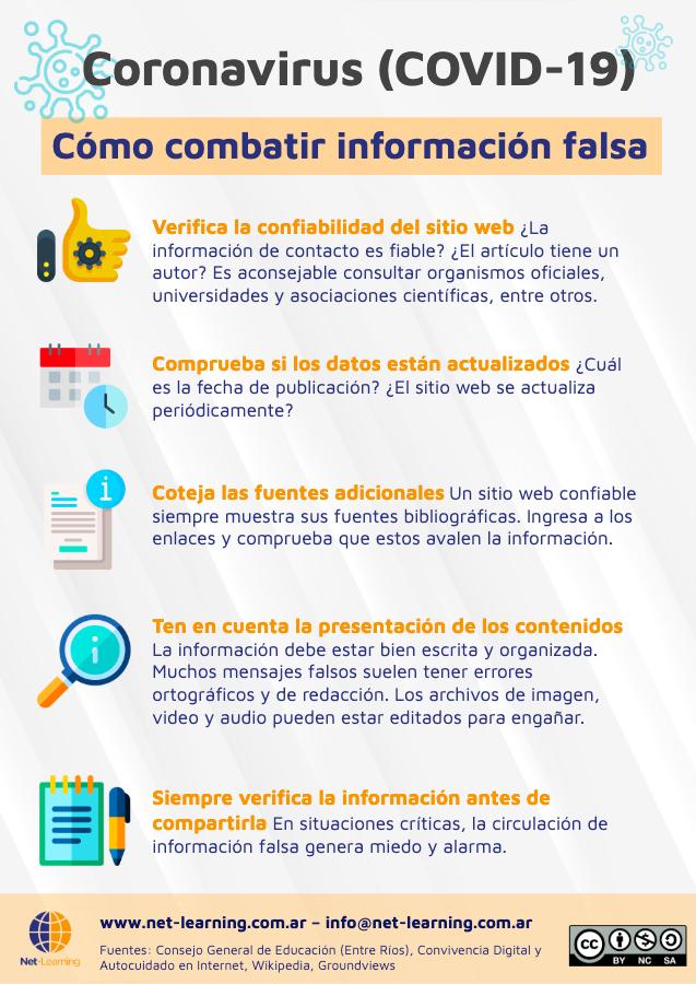 Infografía con recomendaciones para identificar noticias falsas